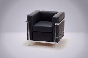Sillón Le Corbusier 1 cpo. Negro 76 × 70 × 70cm.