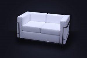 Sillón Le Corbusier 2 cpos. Blanco 130 × 70 × 70cm.