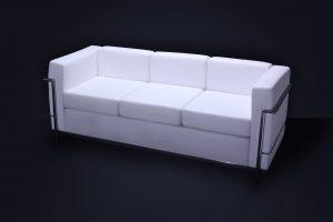 Sillón Le Corbusier 3 cpos. Blanco 180 × 70 × 70cm.